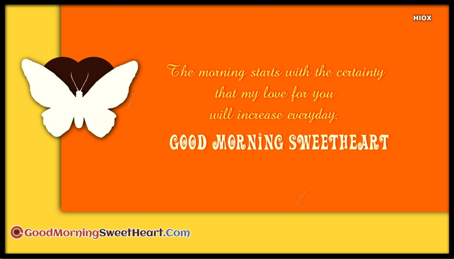 The Morning Starts With The Certainty That My Love For You Will Increase Everyday. Good Morning